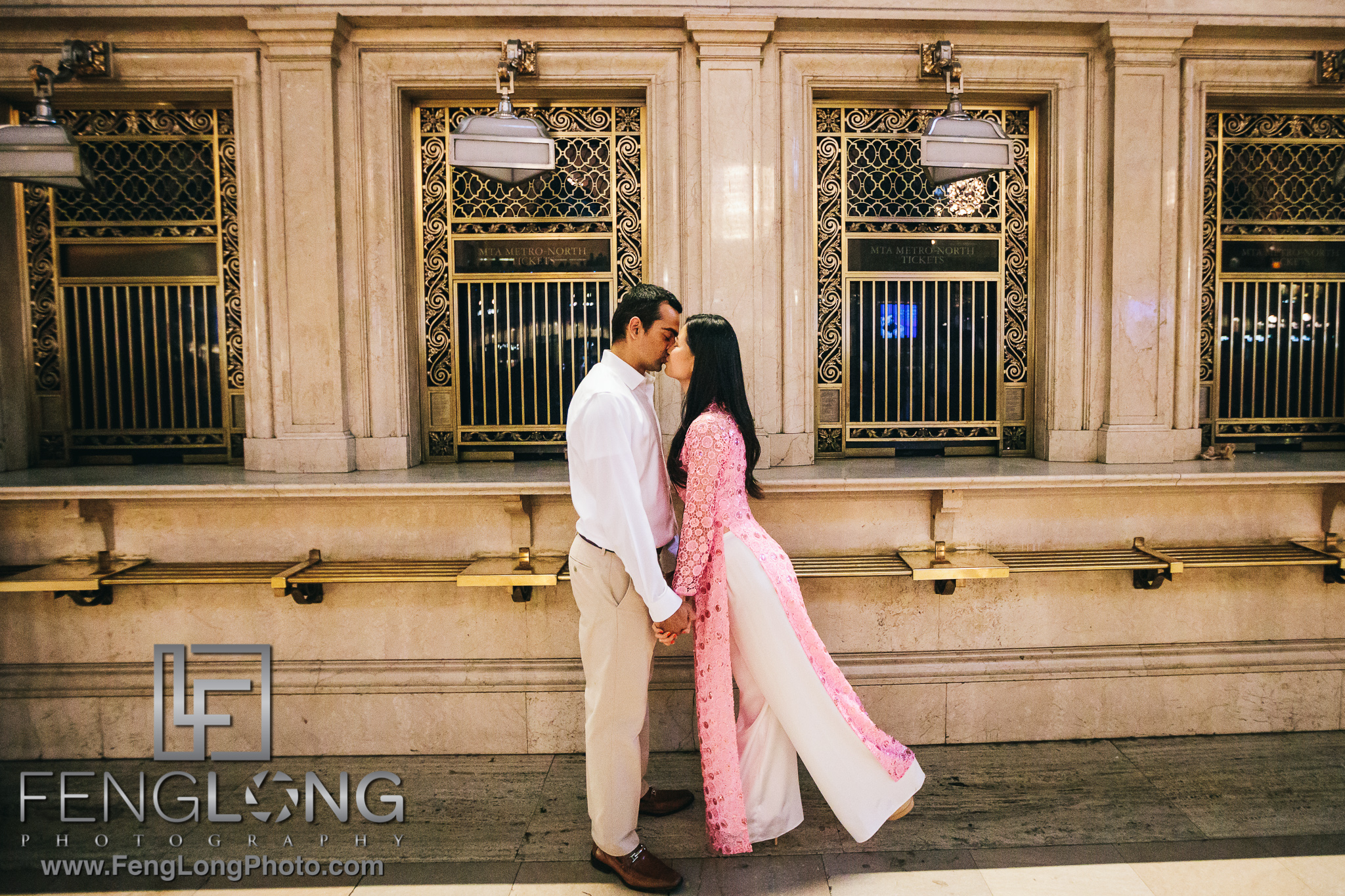 Vietnamese Indian Engagement Session inside Grand Central Terminal in Manhattan NYC