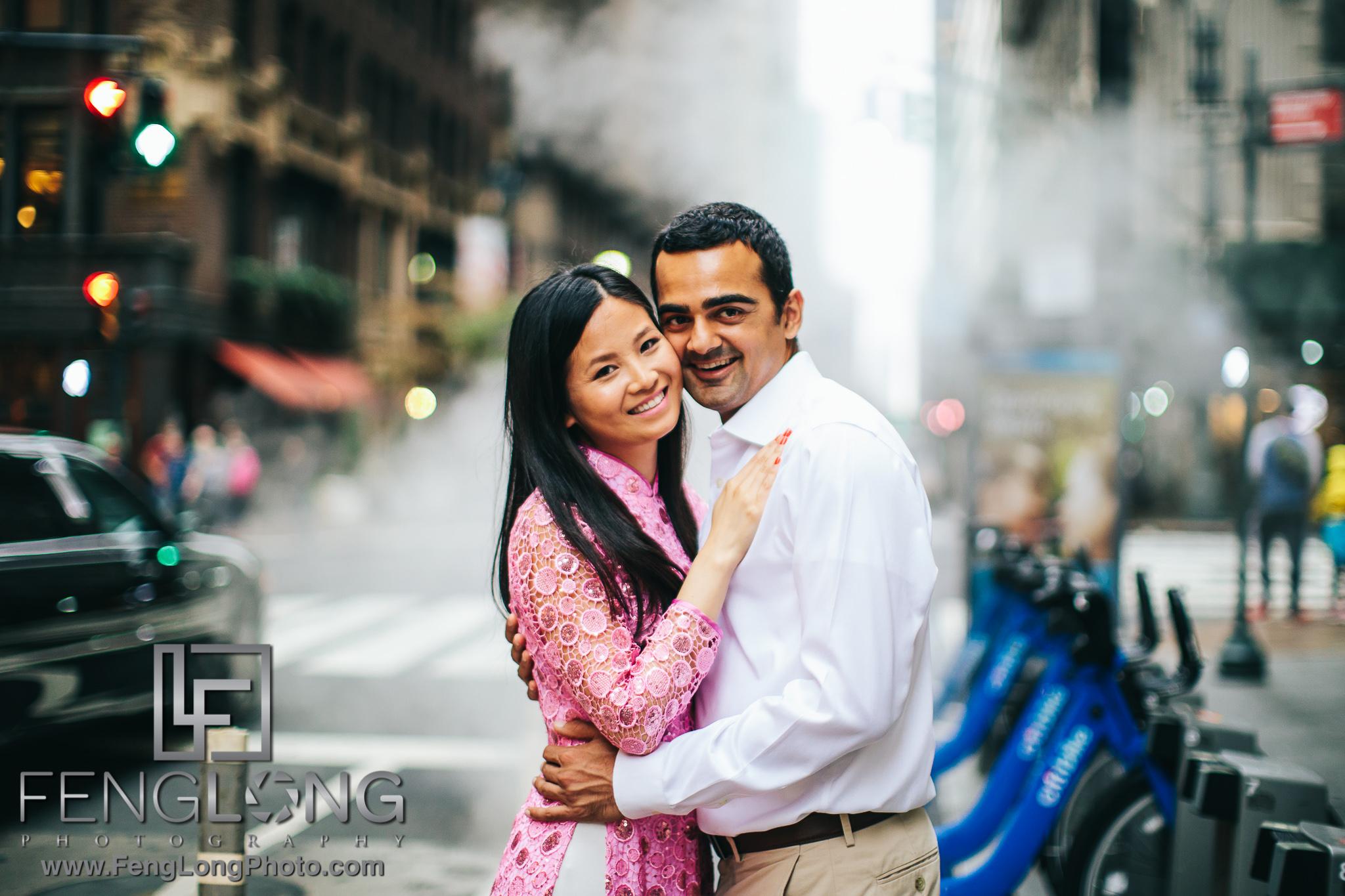 New York Vietnamese Indian engagement session Midtown Manhattan NYC
