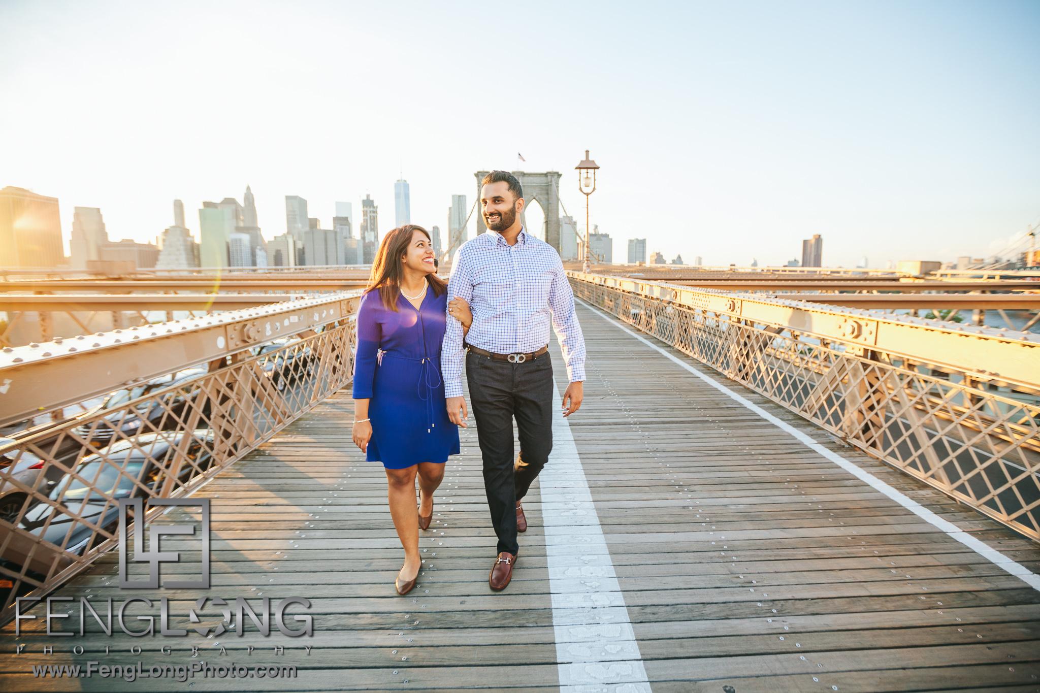 Brooklyn Bridge New York City Indian Engagement Photography