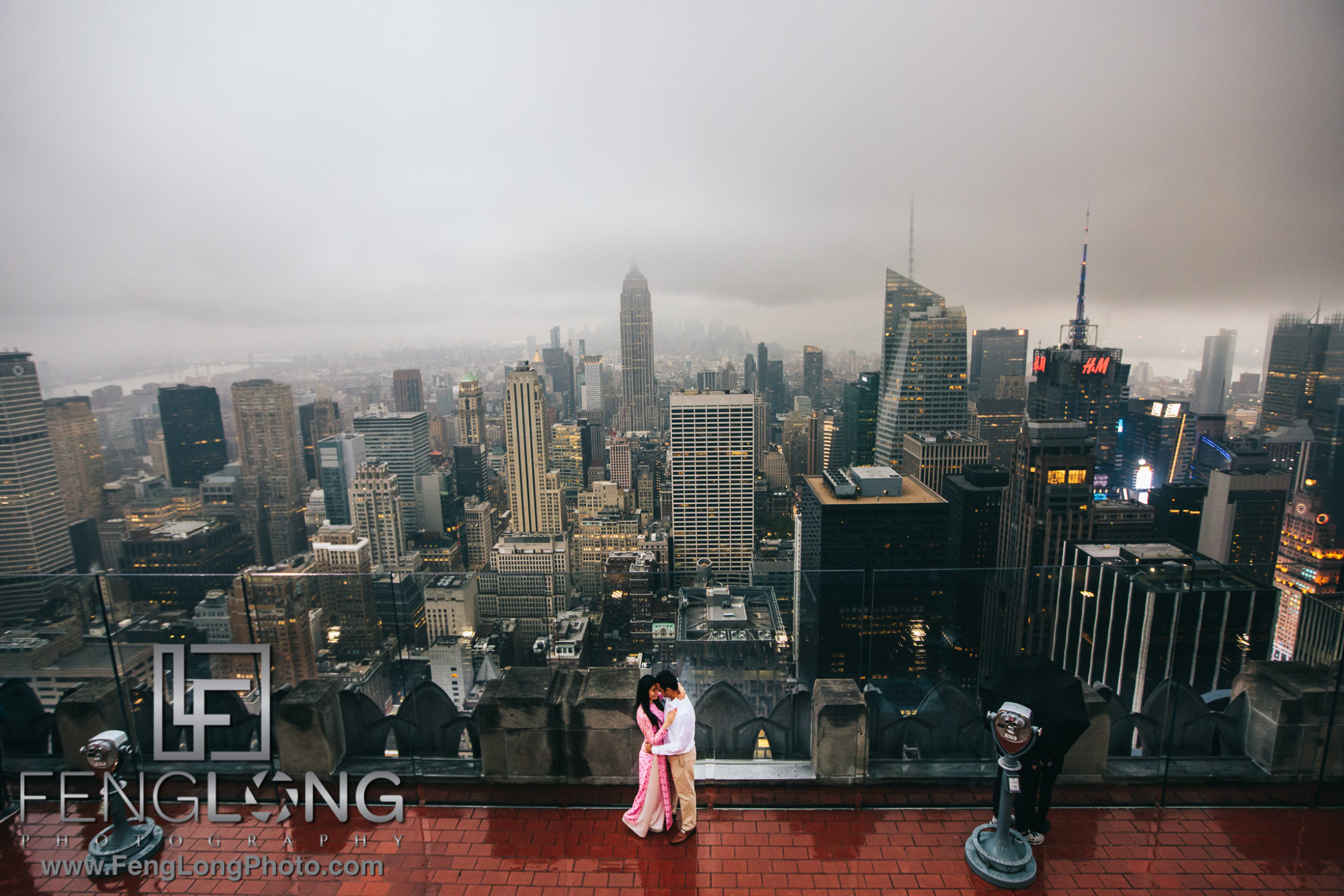 Bride and Groom Top of the Rock New York City