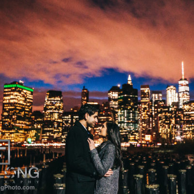 New York City Indian Wedding engagement session in Brooklyn at sunset