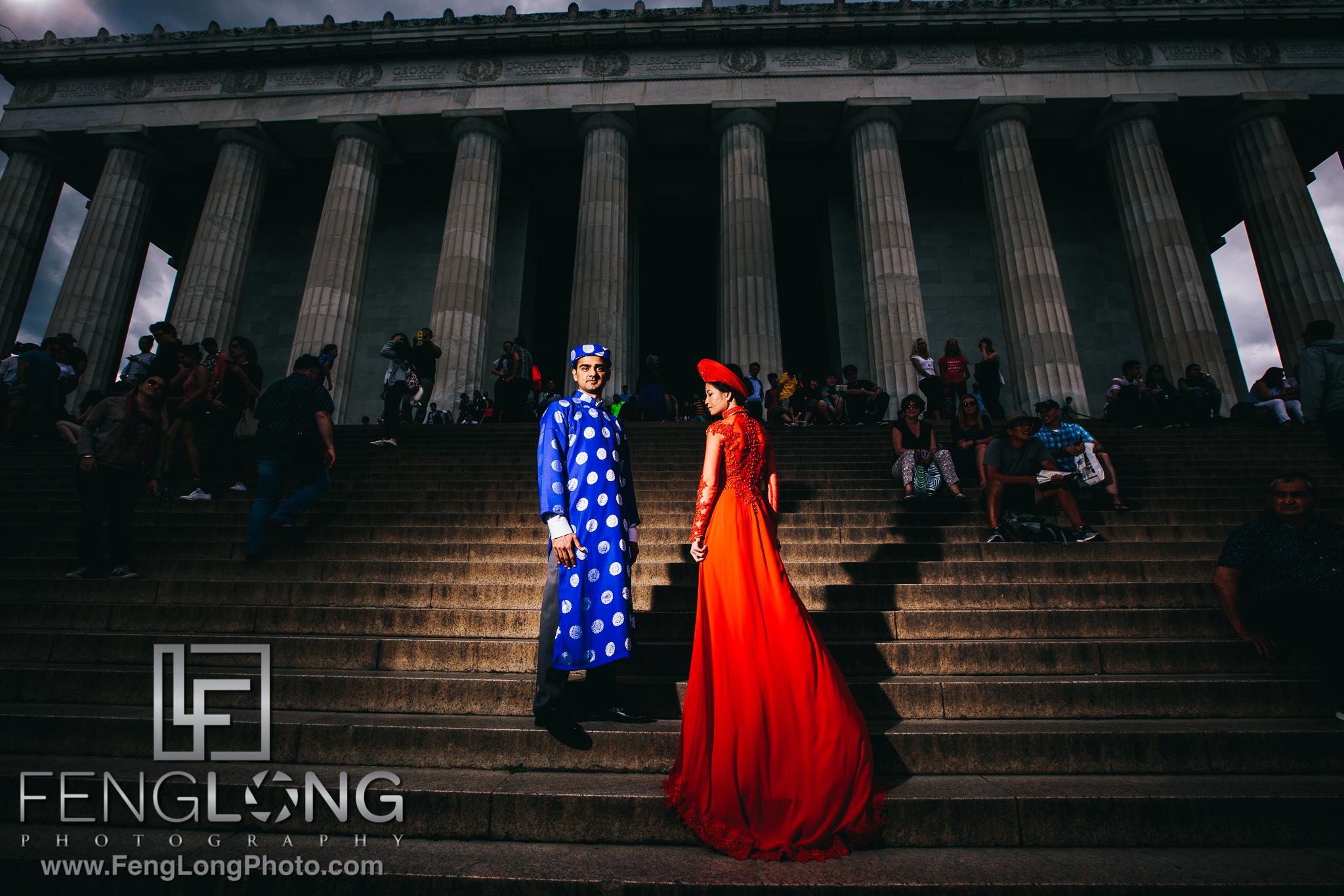 Fusion Vietnamese Indian Wedding in Washington, DC Ceremony at Lincoln Memorial