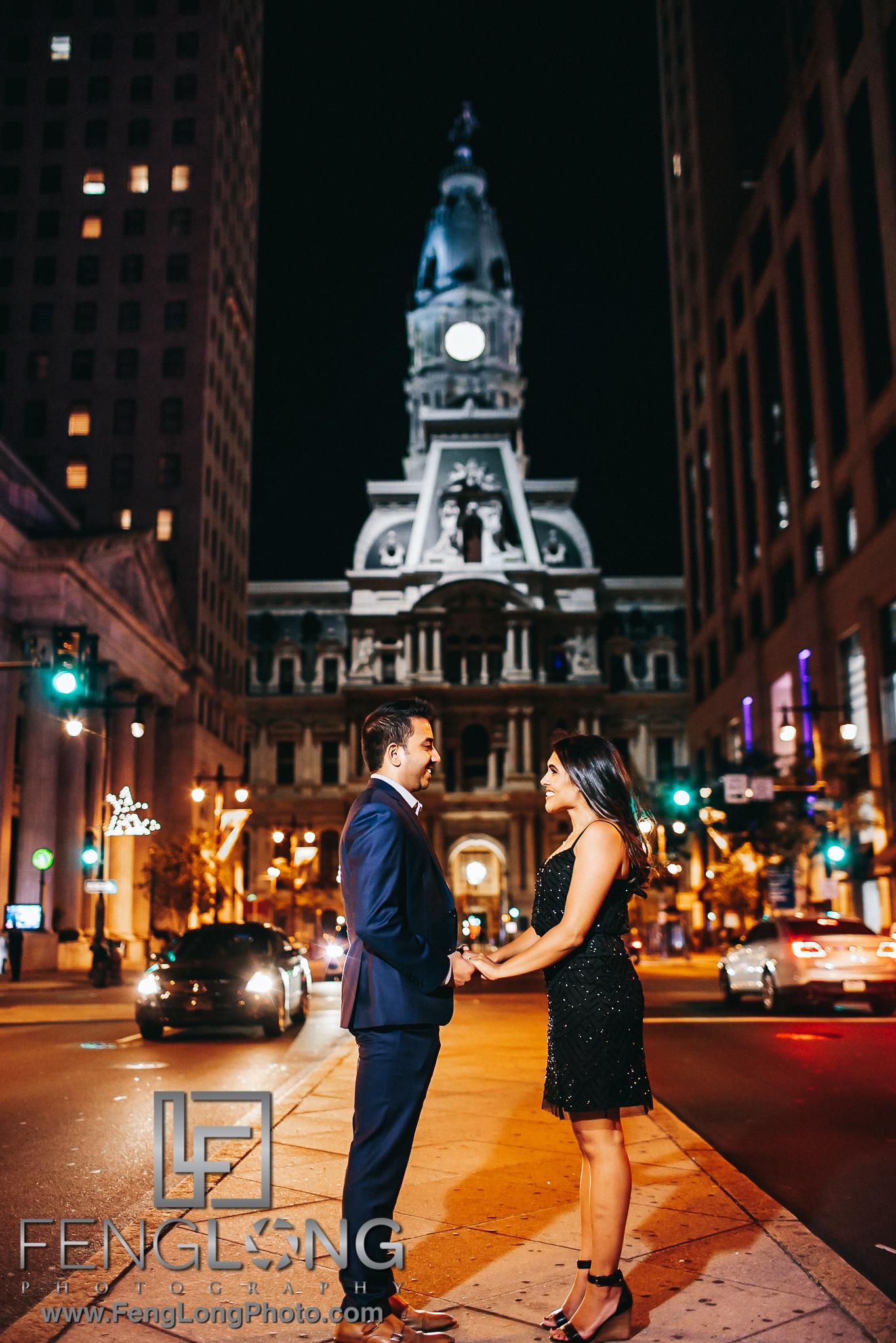 Philadelphia Indian Engagement Session at Night